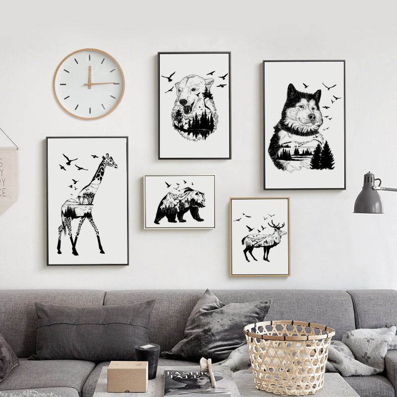 Popigist Black And White Animal Perspective Forest A4 Canvas Art Painting Print Poster Picture Wall Room Home Decoration Murals