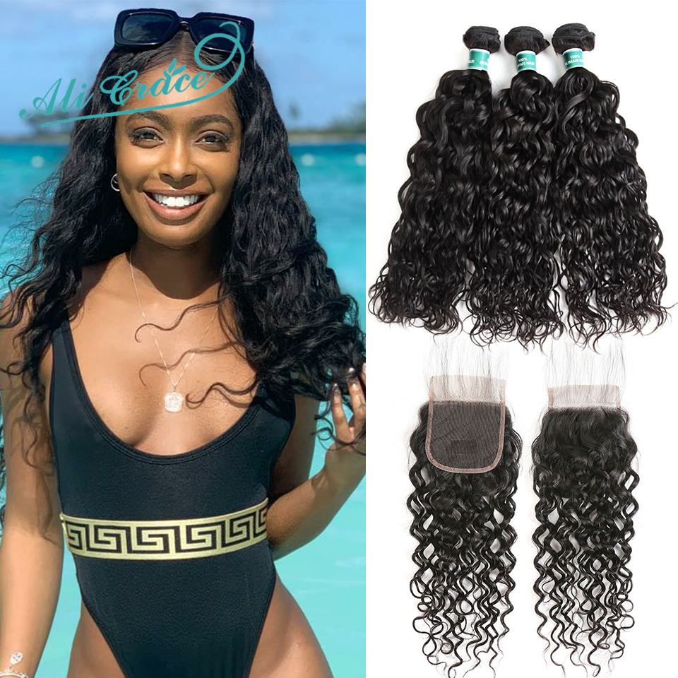 Ali Grace Hair Malaysian Water Wave 3 Bundles with Closure 100 Remy Human Hair Water Wave