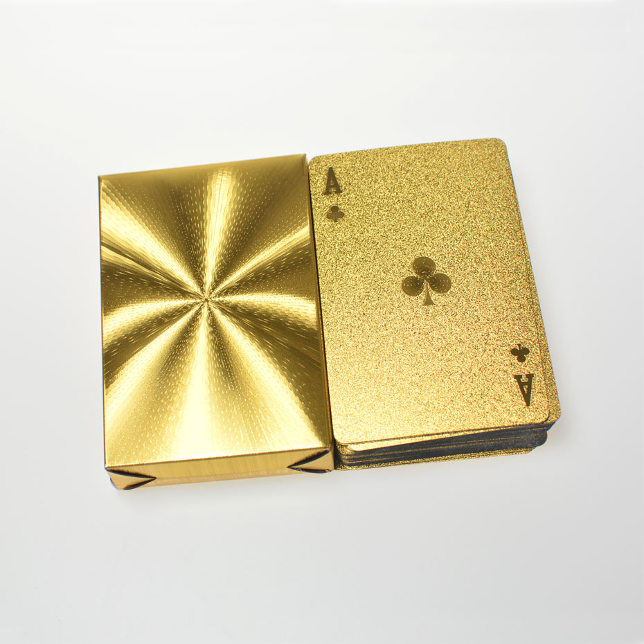 High Quality 1 Set Gold Foil Plated Poker Cards Waterproof Playing Card Limited Edition Collection Diamond Poker Creative Gift