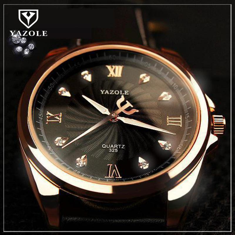 2018 Fashion Luxury YAZOLE Rose Gold Crystal Bling Business Genuine Leather Analog Wrsistwatch Watch Clock Gift for Men No.325