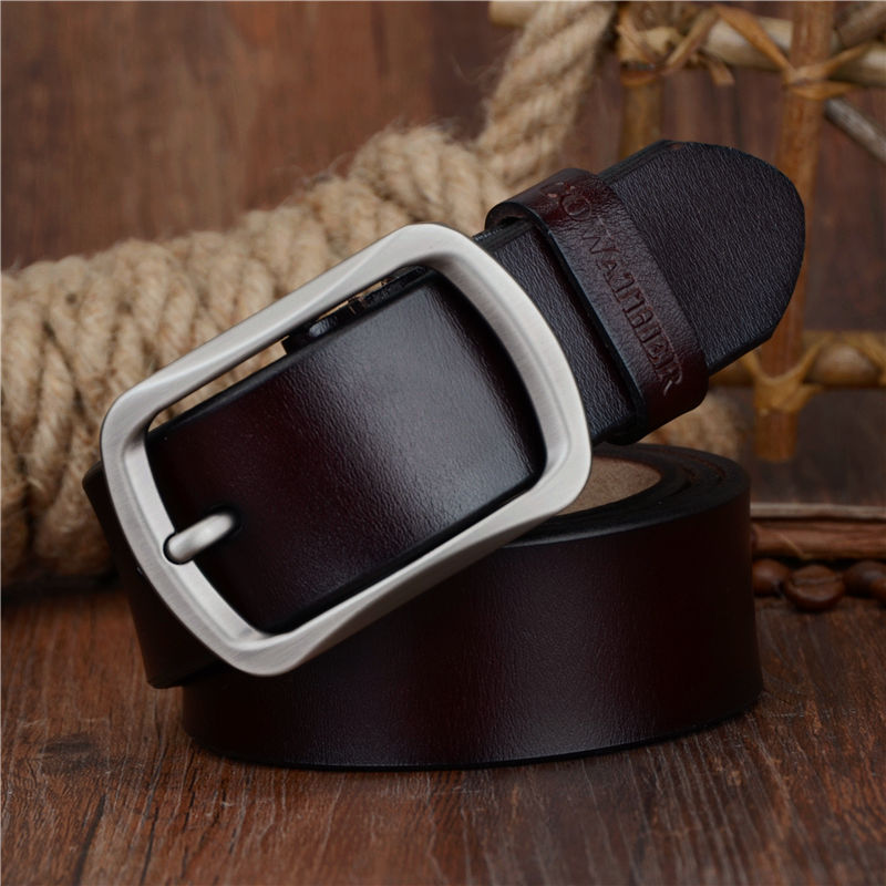 Men's Belts El Barco New Cowhide Leather Men Belt High Quality Luxury Designer Black Male Belts Brown Coffee Pin Buckle Waist Strap Size 125 Elegant In Style