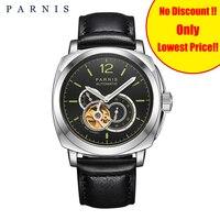 Parnis часы со скелетом Мужские механические часы с автоматически подзаводом 44 мм Военный Спортивный матовый ремень светящиеся 21 драгоценнос