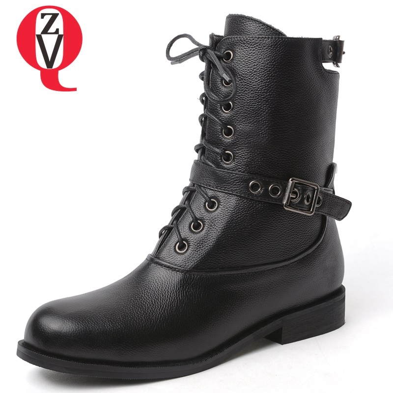 ZVQ 2018 new concise casual genuine leather women shoes low square heel round toe cross-tied lace-up black buckle mid calf boots spring autumn women shoes pumps low square heels round toe casual fashion lace up cross tied transparent sheepskin hollow