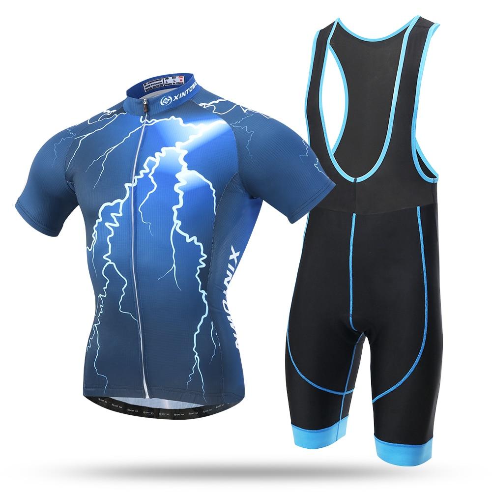 2017 Lightning Cycling Bicycle Short Sleeve Jersey Bib Shorts Racing Clothing Roupa Ciclismo Bib Set 3D Cool Max Pad