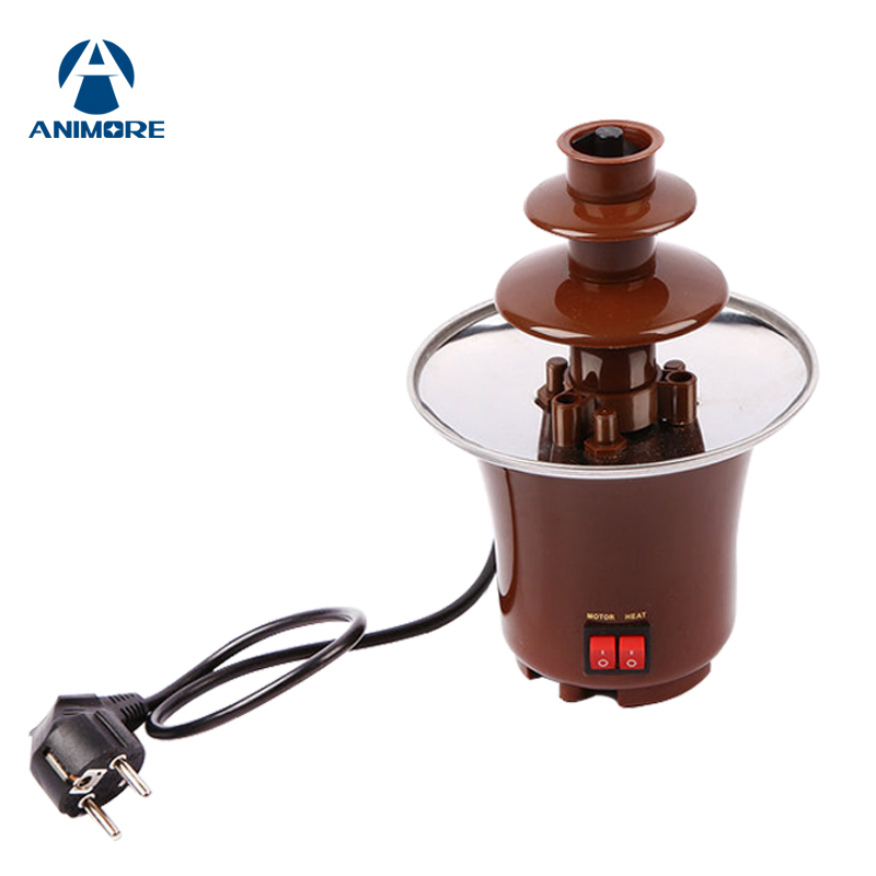 ANIMORE Mini Chocolate Fountain Three Column Creative Design Chocolate Melt With Heating Fondue Machine For Children Gift FP-04