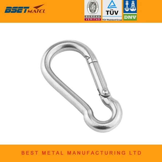 Stainless Steel Carabiner Spring Buckle Snap Chain Link Safety Lock Hook Ring Q