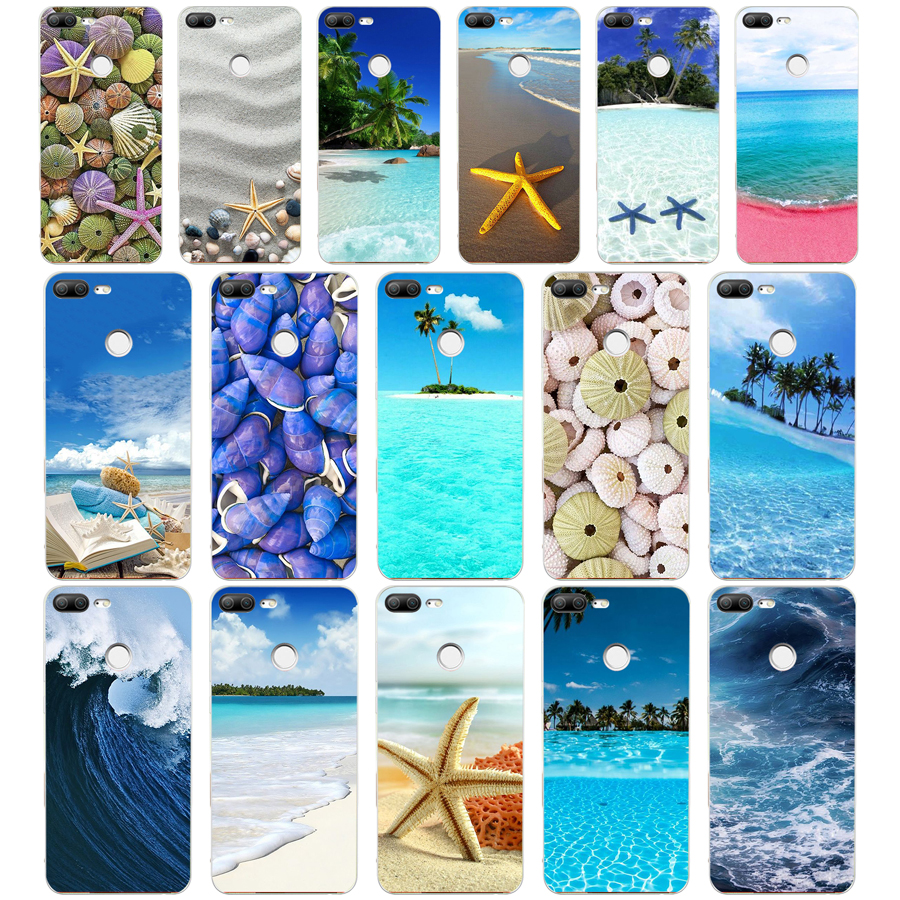 211A Blue Wood Seashells Sea Star Soft Silicone Tpu Cover phone Case for huawei Honor 9 Lite 10 p 9 10 lite case(China)