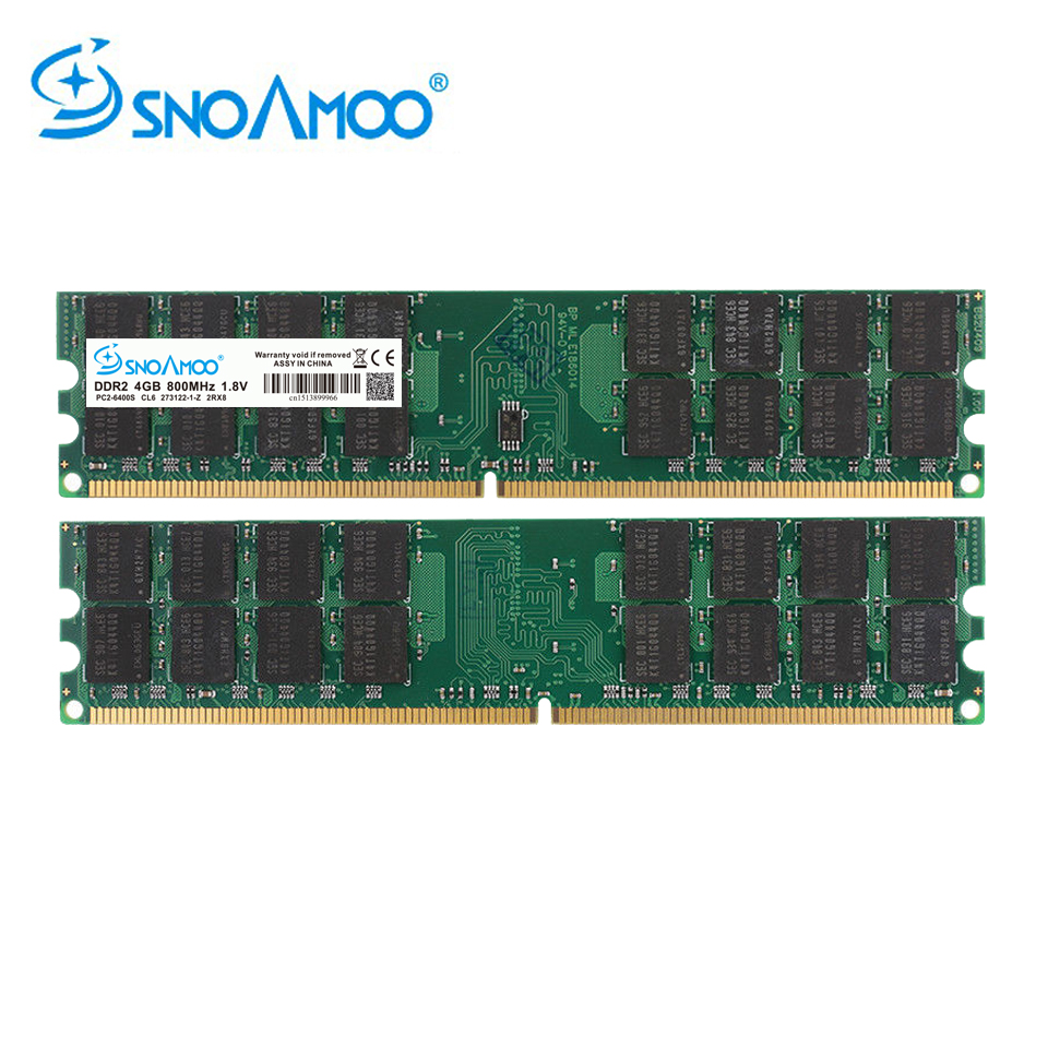 SNOAMOO Ram <font><b>DDR2</b></font> <font><b>4GB</b></font> 800MHz PC2-6400 Desktop PC DIMM Memory 240 pins For AMD System High Quality Compatible image