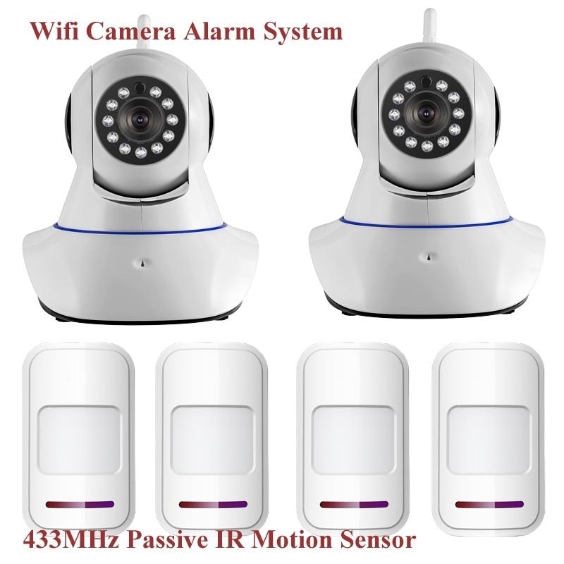 Wireless WiFi IR Cut IP Camera HD 1MP CMOS Security CCTV IP Camera Alarm PT Wifi and GSM SMS Alarm System with PIR Motion Sensor