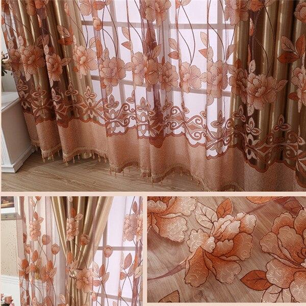 Burnout cortinas rideau Da Flor Da peônia Chinesa 3D Janela cortinas cortinas rideau Cortinas parágrafo sala tules apenas 1 pc