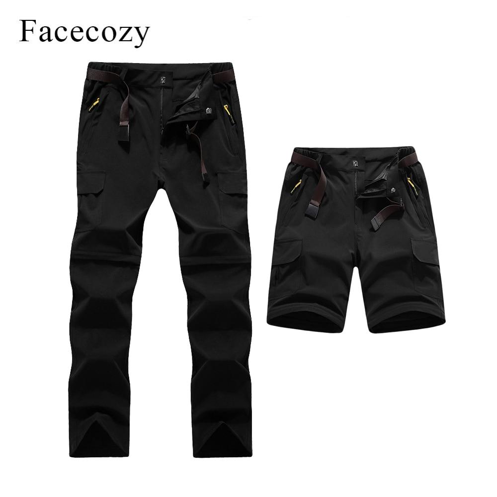 Facecozy 2019 Men's Summer Convertible Quick Dry Hiking Pants Male Outdoor Sport Cargo Trousers Trekking Fishing Climbing Shorts