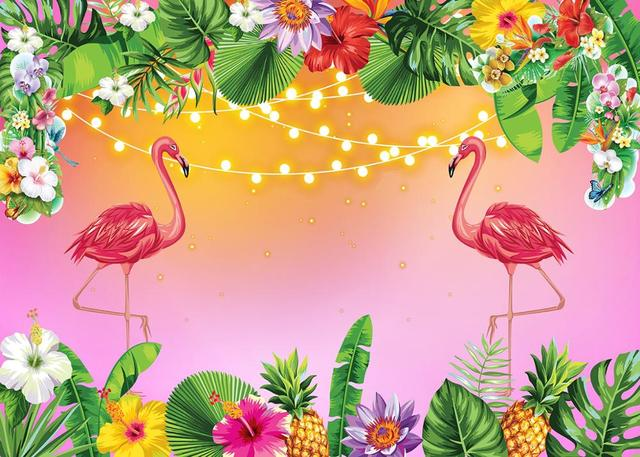 Photos de fleurs de Style Tropical avec fond danniversaire flamant rose arrière-plan personnalisé Photocall pour une séance Photo pour la Photo