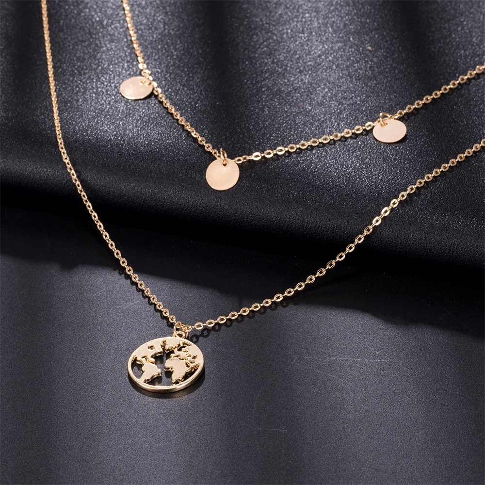 New Simple Gold Coin Layered Map Choker Necklace For Women Multi Layer Chocker Necklaces Pendants collar collier femme collares