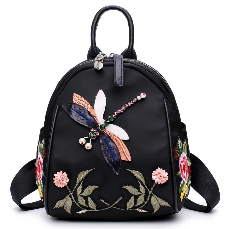 Vintage Handmade Rhinestone Floral Embroidered Backpack women Fashion Nylon waterproof travel mochila kanken backpack 1