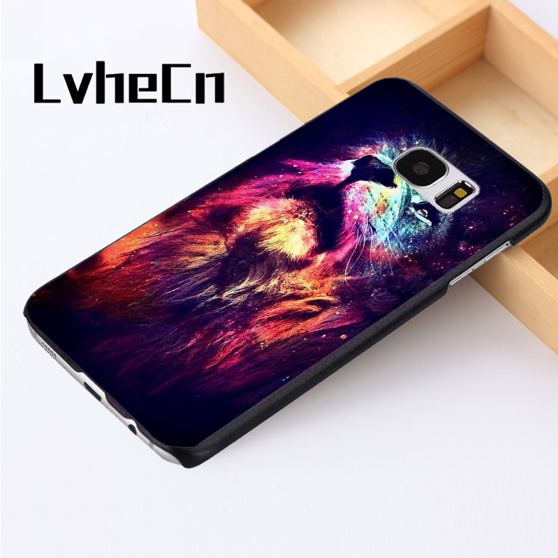 LvheCn phone case cover For Samsung Galaxy S3 S4 S5 mini S6 S7 S8 edge plus Note2 3 4 5 8 Lion Nights Sky Star Constellation Art