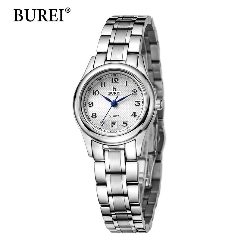 BUREI женщин платье наручные часы с Дата календарь нержавеющая сталь браслет водонепроницаемый 30m моды часы
