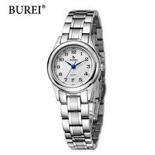 2016 direct selling burei vestido das mulheres relógios de pulso com data do calendário pulseira de aço inoxidável relógio à prova d' água 30 m moda