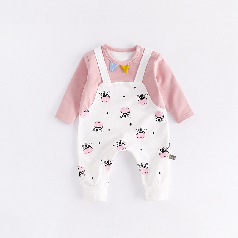 Newest Newborn Baby Boy Girl Romper Infant Animal Cow Jumpsuits Long Sleeve Fashion Conjunto Menino Costume Baby Clothing 2017 baby romper girl and boy short sleeve monkey print summer clothing for newborn next jumpsuits