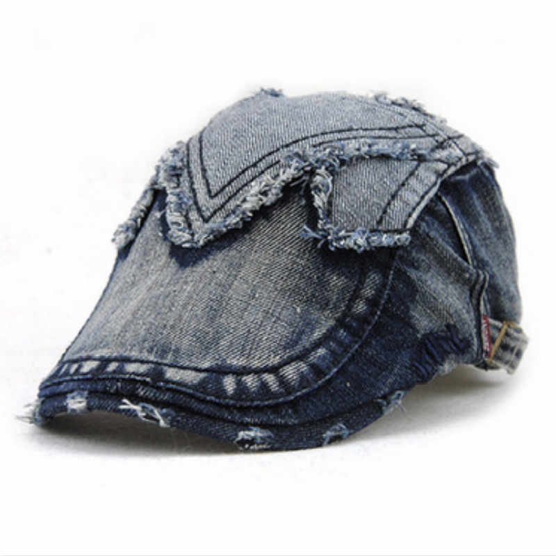 ... female male funny denim french hat beret do old distress vintage hat  retro duckbill hat women ... 8c3736ba8d95