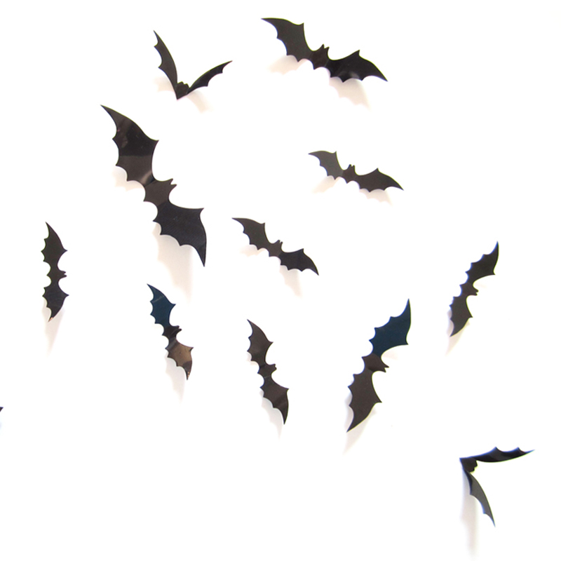 new 12pcslot pvc 3d black bat wedding party halloween decoration home decor wall stickers wall art wall decorations - Halloween Wall Decor