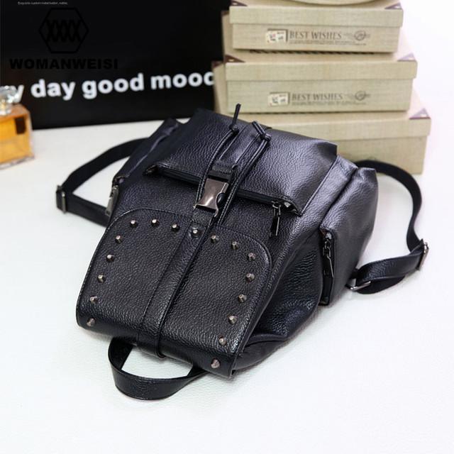 New Popular 2016 Korean Black Leather Women Backpacks For Teenage Girls Luxury Punk Style Youth Student School Bags Mochila