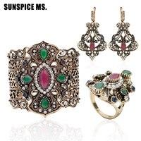 3pcs Turkish Women Vintage Bracelet Earring Ring Jewelry Sets Antique Flower Bangle Cuff Long Dangle Earring