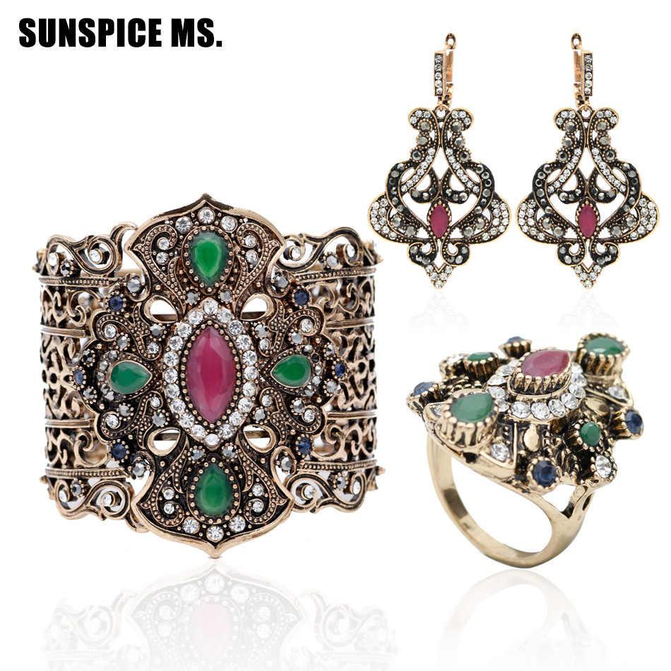 3 шт. турецкий женский винтажный браслет серьги кольцо Ювелирные наборы античный цветок браслет манжета длинные свисающие серьги индийское свадебное кольцо