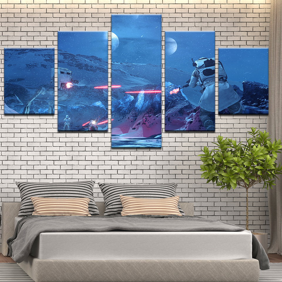 Pictures Paintings On Canvas HD Vintage Home Decor 5 Pieces/Pcs Star Wars Battlefront Framework Posters And Prints On The Wall image