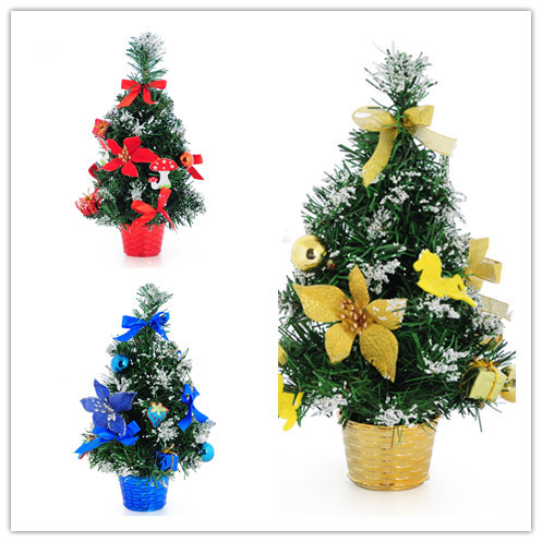 20 new 3017cm golden red sticky white christmas tree decoration office and house desk christmas tree office desk