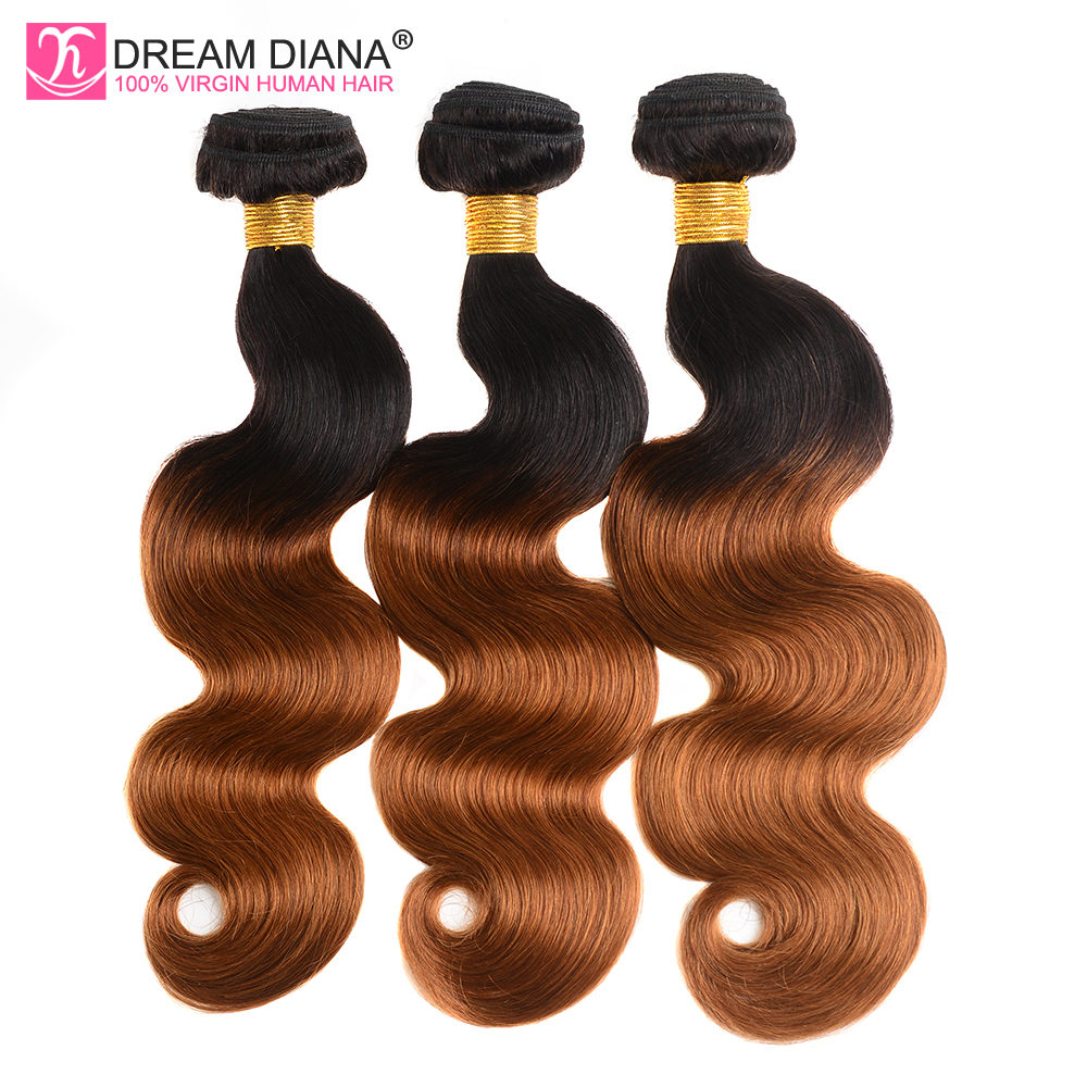 DreamDiana Remy Two Tones 1B 30 Peruvian Ombre Body Wave 3 Bundles Dark Root Brown Colored Human Hair Weave 4 Days Fast Delivery