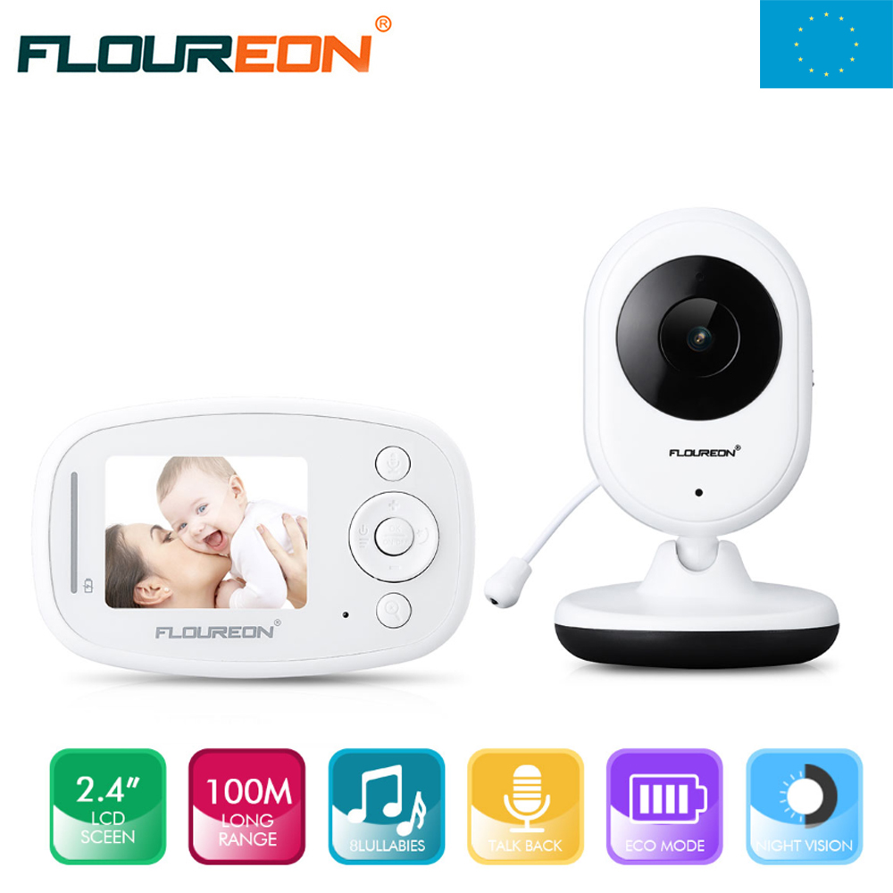 Local Shipping ! Floureon  2.4'' Digital Wireless Baby Monitor LCD Video Nanny Security Camera Temperature Display digital indoor air quality carbon dioxide meter temperature rh humidity twa stel display 99 points made in taiwan co2 monitor