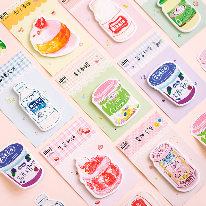 Yuxian Strawberry Cake Drink Bottle Memo Pad Sticky Notes Paper Sticker Notepad Kawaii Stationery Pepalaria School Supplies