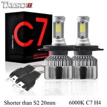 TXVSO8 2Pcs h4 led car headlight bulbs Kit white 6000K super bright COB Chips 55W 12V 20000Lm Mini Auto Fog light bulb for cars