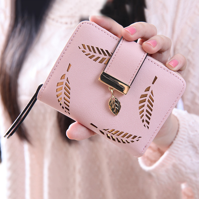 2019 Design Women Wallet Zipper Leather Ladies Purse Luxury Brand Hollow Women Small Wallet Leaves Female Purse for credit cards tote bag