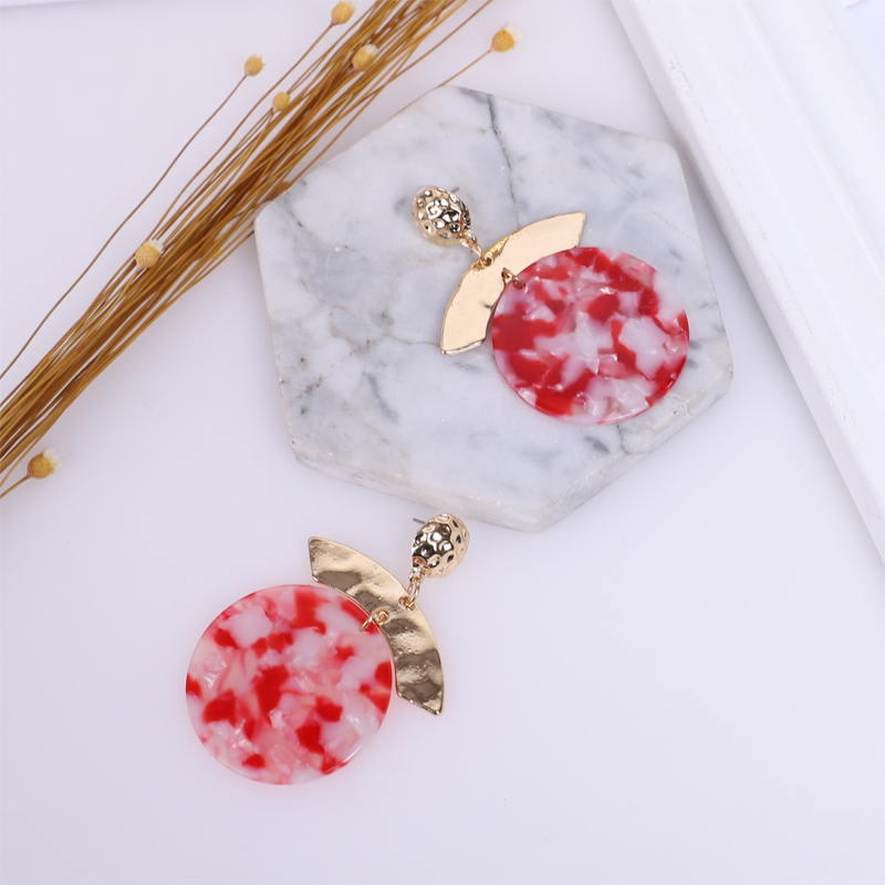 Red Acrylic Earrings For Women Gold Long Big Drop Trendy Statement Accessories Indian Earings Fashion Bohemian Jewelry 2019 New in Drop Earrings from Jewelry Accessories