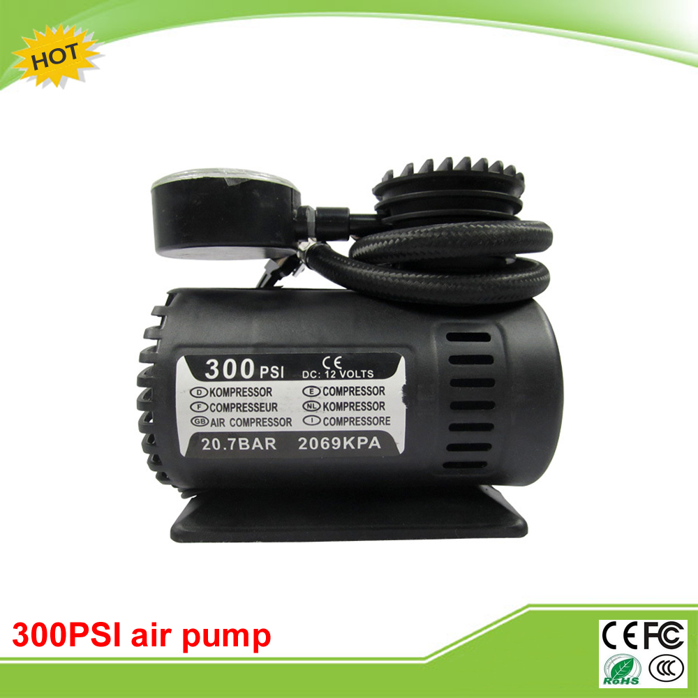 Mini 300PSI 12V DC auto electric fast car pump air compressor tire inflator tool car fast inflation air compressor black silver