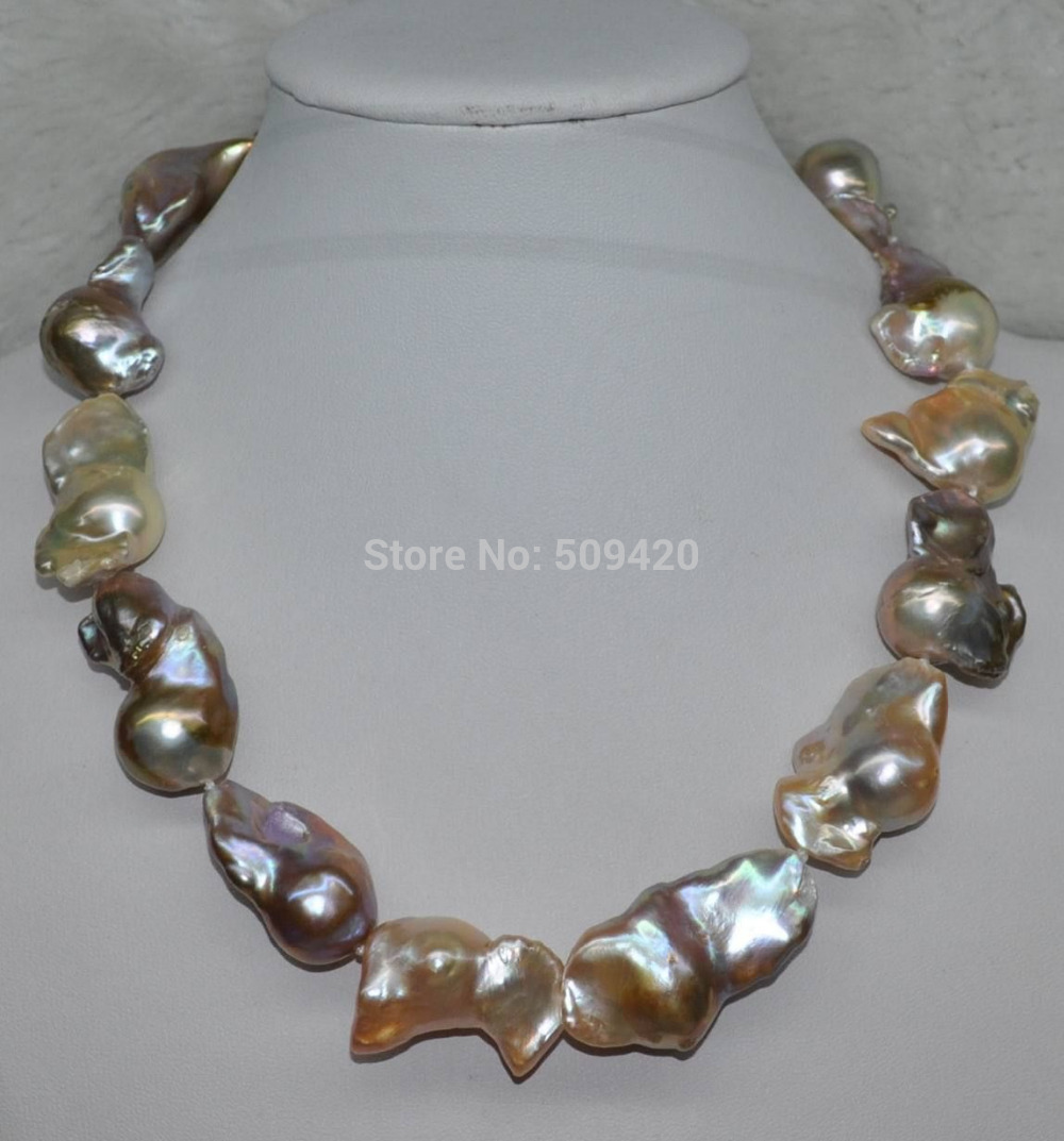 Free Shipping >>GORGEOUS Rainbow Multicolor 21*40mm Baroque Nucleated cultured pearl necklace