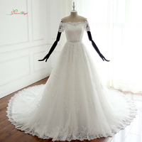 Dream Angel Vestido De Noiva Short Sleeve A Line Wedding Dresses 2017 Boat Neck Appliques Beaded