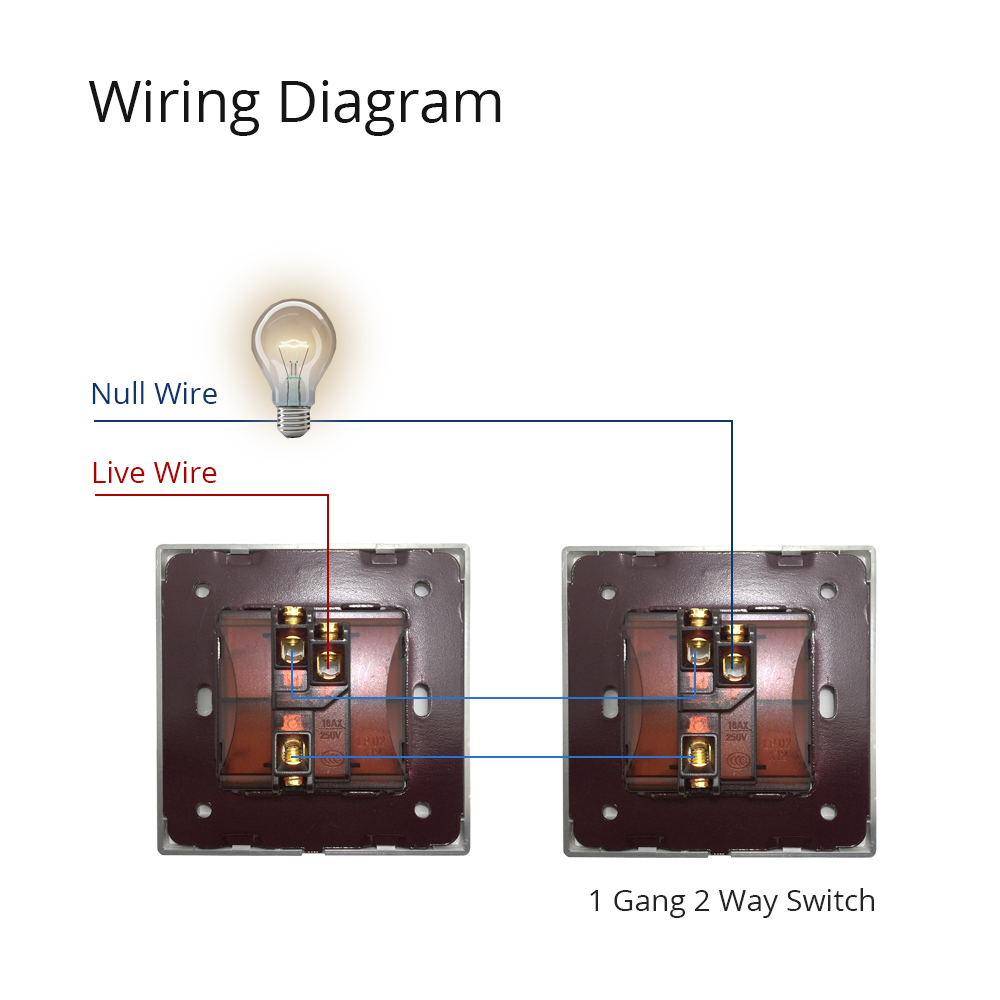 1 Gang 2 Way Light Switch 2018 Luxury Acrylic Panel With Silver
