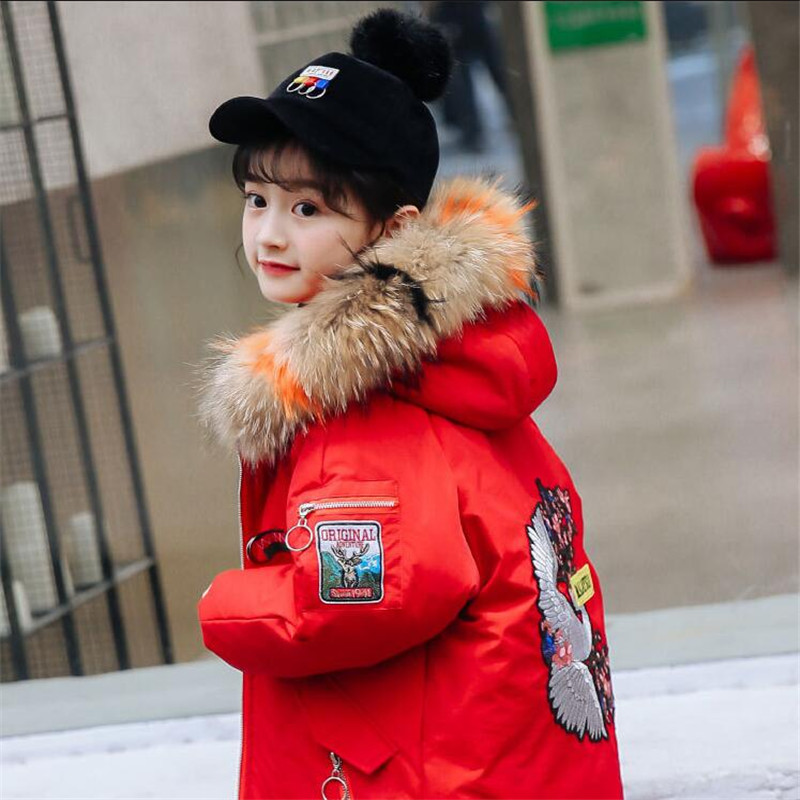 Real Fur Collar Warm Kids Duck Down Jacket for Girl Children's Cold Winter Jackets Boys Coat Long Girls Clothes Parka -30 Degree цена 2017