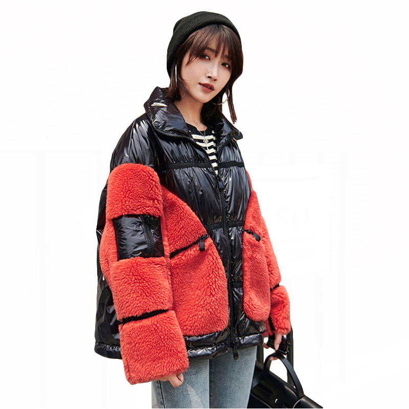 High Grade Wool Fur   Coat   Patchwork White Duck   Down   Jacket For Women Long   Coat   2019 New Arrival Parka Winter Womens Glossy   Coats
