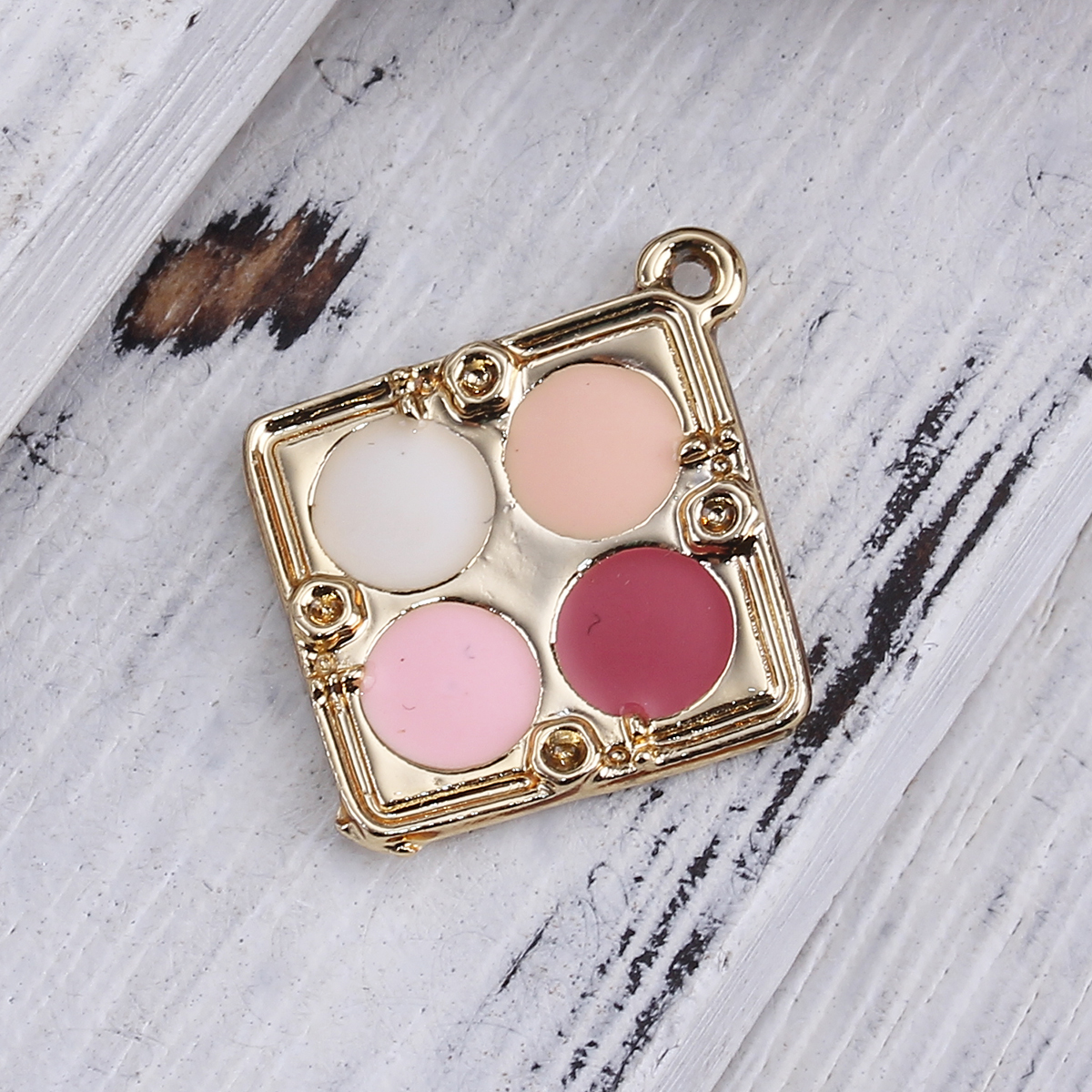 New Zinc Alloy Makeup Charms Pendant Rhombus Gold color Multicolor Blusher (Can Hold ss5 Pointed Back Rhinestone) Enamel, 10 PCs