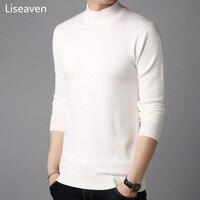 Liseaven мужские кашемировые свитера с длинным рукавом Pull Homme сплошной цвет пуловер свитер мужские топы