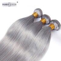 Модные queen hair Remy натуральные волосы пучки бразильские прямые волосы пучки чистый серый цвет прямые человеческие волосы расширения