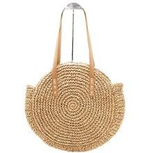 Fashion Women Straw Bag Round Portable Ladies Natural Large Handbag Manual Woven Shoulder Bohemia Holiday Beach