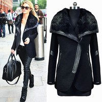 Women Winter Long Sleeve Casual Solid Turn down Collar Black Pocket Slim Overcoat Elegant Zipper Fur Coat Thick Warm Outerwear