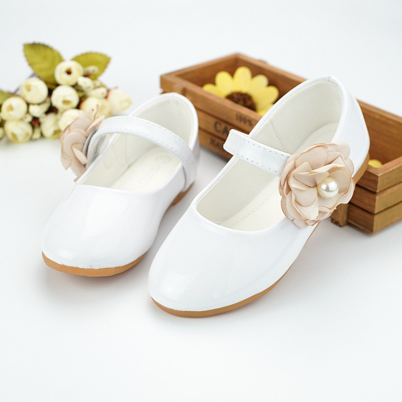 2017 New Style Korea Kids Cusual Baby Children Shoes Microfiber Leather Girls Flat Princess Shoes Flower Dancing shoes size24-34
