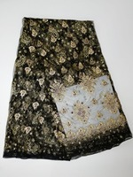 french lace fabric with stones bazin riche getzner dentelle tissu africain gold lace embroidery fabric high quality5yard