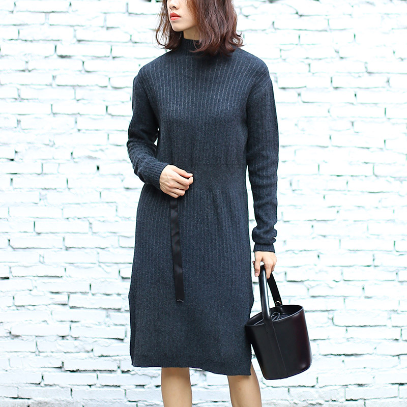 Knee length Long Sleeve Knitted Dress Sash Women Winter Pullovers Sweater Shirt Plus Size Christmas Gift