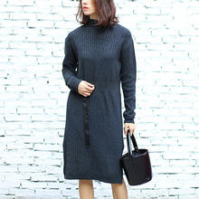 Knee-length Long Sleeve Knitted Dress Sash Women Winter Pullovers Sweater Shirt Plus Size Christmas Gift